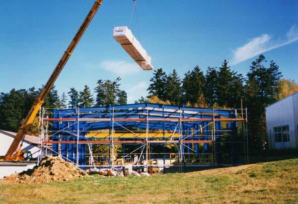 Bau der großen Lagerhalle 1994 in Hochmössingen